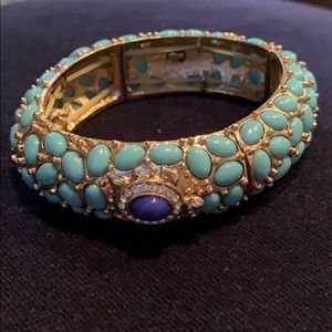 Ann Taylor gold & turquoise stretch bracelet